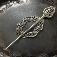 Moroccan Window Shawl Pin with Ring and Stick