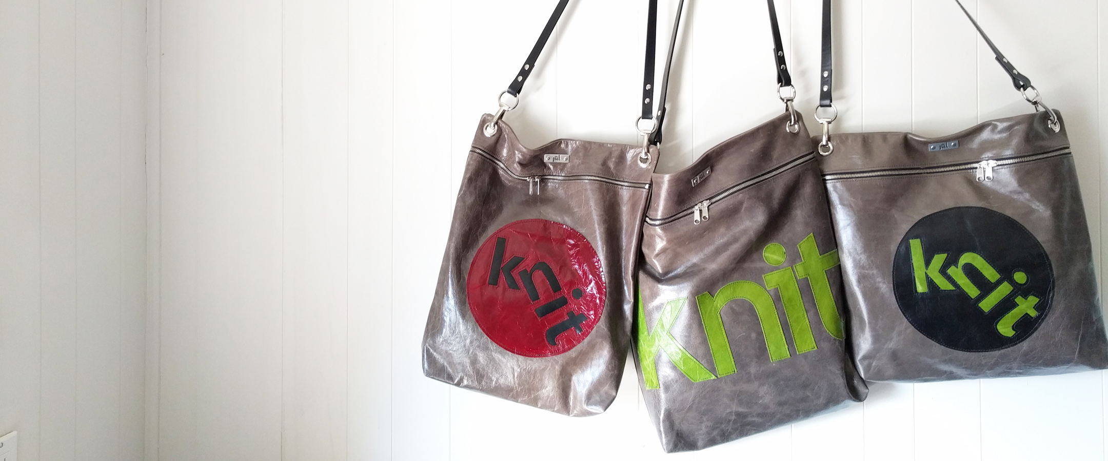 knit leather bags