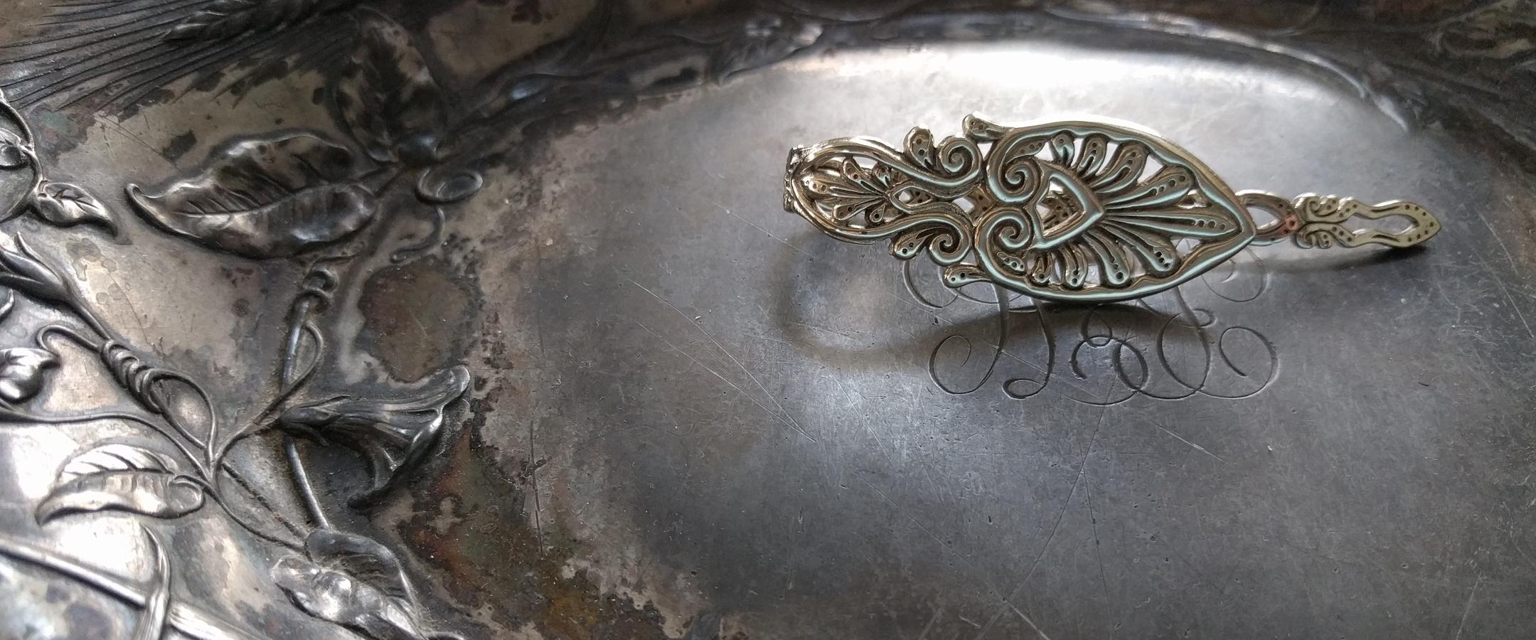 Palm metal shawl pin