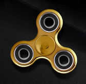 NEW HAND SPINNER GLOWING GOLD TRI-SPINNER EDC FIDGET LUMINOUS PLASTIC ADHD TOYS