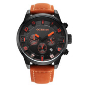 NEW OCHSTIN ROUND MULTIFUNCTION GENUINE LEATHER BLACK + ORANGE SUB DIAL CALENDER DISPLAY MEN QUARTZ WATCH