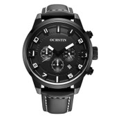NEW OCHSTIN ROUND MULTIFUNCTION GENUINE LEATHER BLACK + WHITE SUB DIAL CALENDER DISPLAY MEN QUARTZ WATCH
