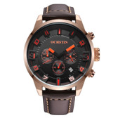 NEW OCHSTIN ROUND MULTIFUNCTION GENUINE LEATHER ROSE GOLD + ORANGE SUB DIAL CALENDER DISPLAY MEN QUARTZ WATCH