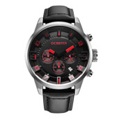 NEW OCHSTIN ROUND MULTIFUNCTION GENUINE LEATHER SILVER + RED SUB DIAL CALENDER DISPLAY MEN QUARTZ WATCH