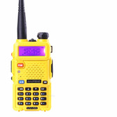 BAOFENG WALKIE TALKIE YELLOW RADIO TRANSCIVER 128CH BLUE 5W VHF&UHF HANDHELD UV 5R FOR HUNTING