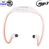 NEW SPORT MP3 PLAYER HEADSET WHITE + RED WITH TF CARD READER FUNCTION MUSIC FORMAT MP3