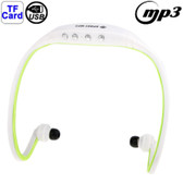 NEW SPORT MP3 PLAYER HEADSET WHITE + GREEN WITH TF CARD READER FUNCTION MUSIC FORMAT MP3