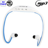 NEW SPORT MP3 PLAYER HEADSET WHITE + BLUE WITH TF CARD READER FUNCTION MUSIC FORMAT MP3