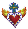 Heart ,Cross And Flames Milagro