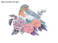 Shimmering Bluebird and Roses