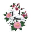 Red Crowned Crane in Bloom