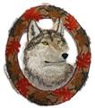 Wolf In Autumn Leaf Frame