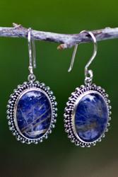 Rutilated bluestone sterling silver earrings