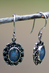Opal doublet sterling silver earrings