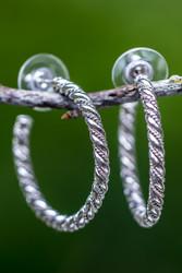 Double twist sterling silver hoop earrings