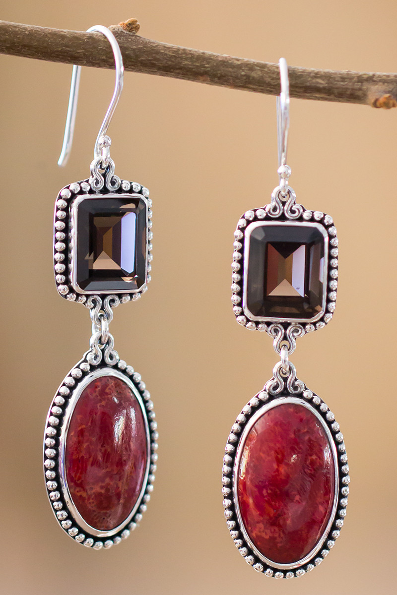 Smoky Quartz And Red Coral Earrings In Sterling Silver