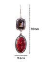 Smoky Quartz And Red Coral Earrings In Sterling Silver-Detail Front View