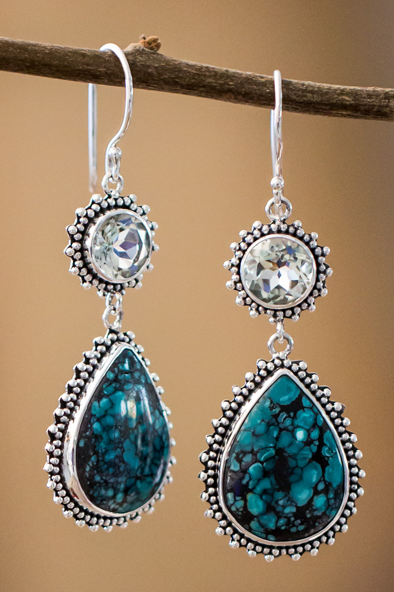 Turquoise And Green Topaz Earrings In Sterling Silver