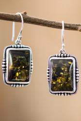 Green Amber Earrings In Sterling Silver