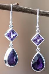 Amethyst Drop Earrings In Sterling Silver