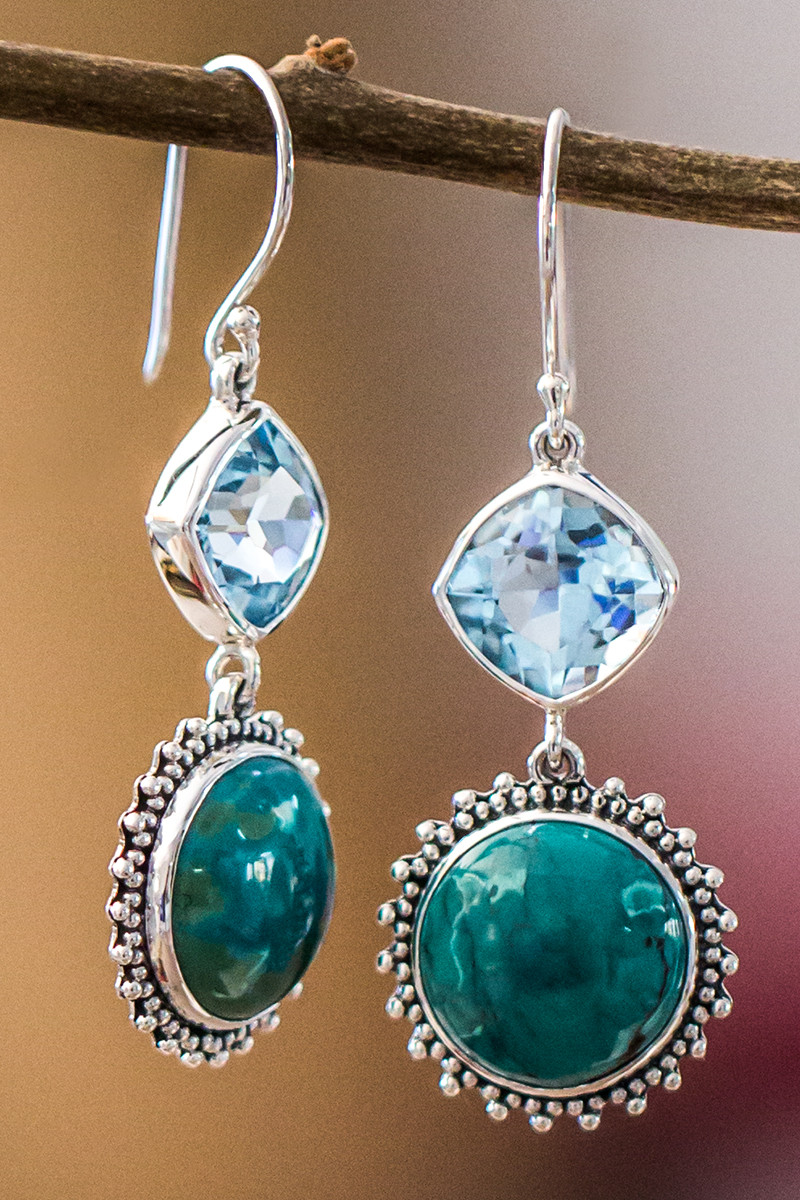 Turquoise And Blue Topaz Earrings In Sterling Silver