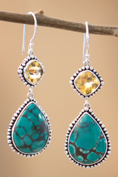 Turquoise And Citrine Earrings In Sterling Silver
