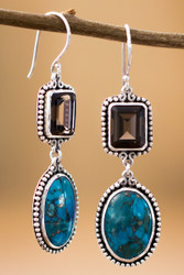 Smoky Quartz And Turquoise Earrings Sterling Silver