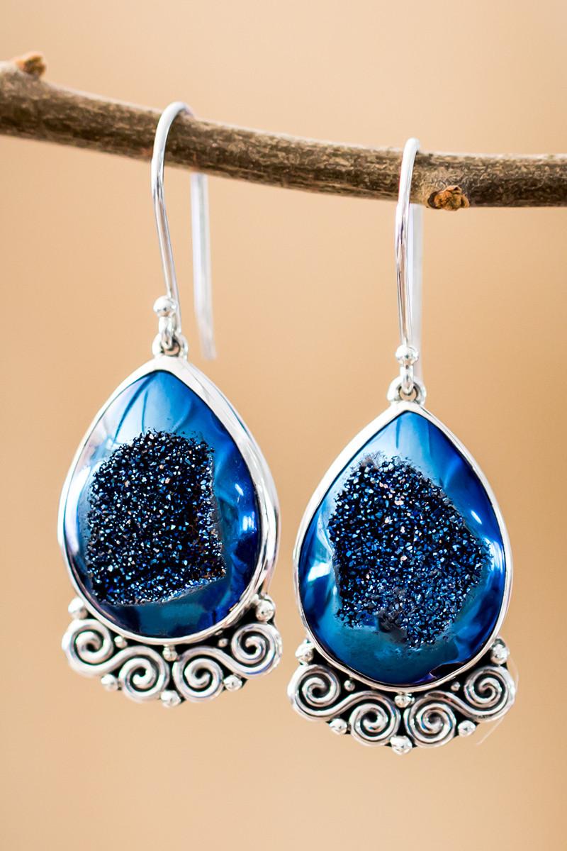 Blue Druzy Earrings In Sterling Silver