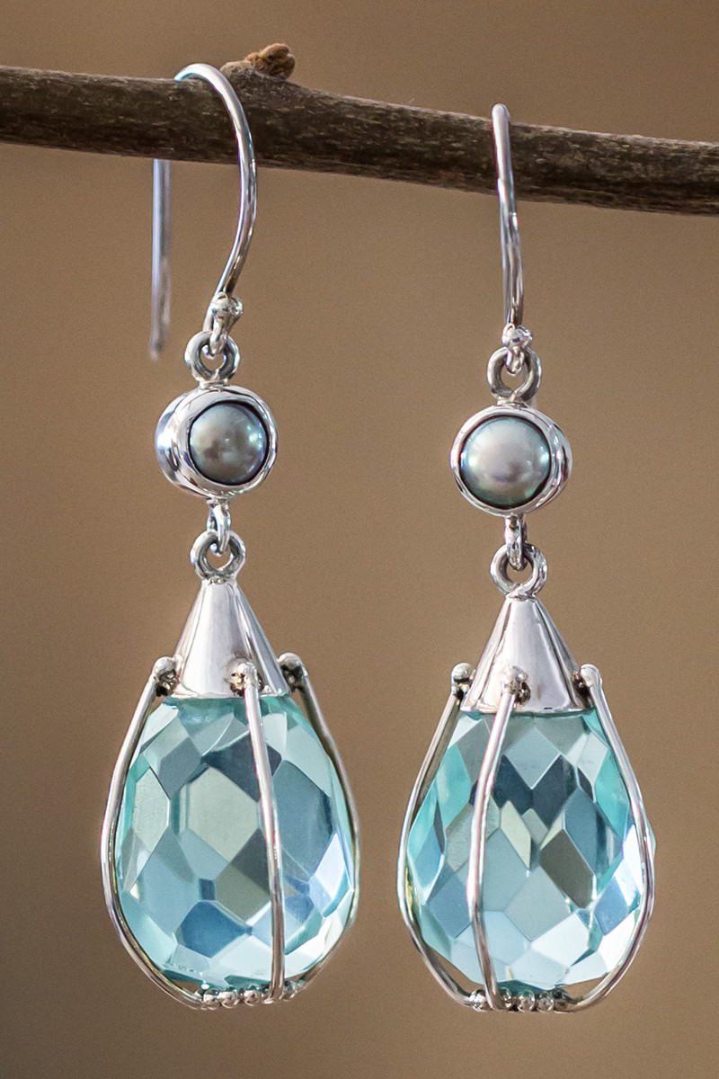 Green Obsidion And White Pearl Earrings In Sterling Silver
