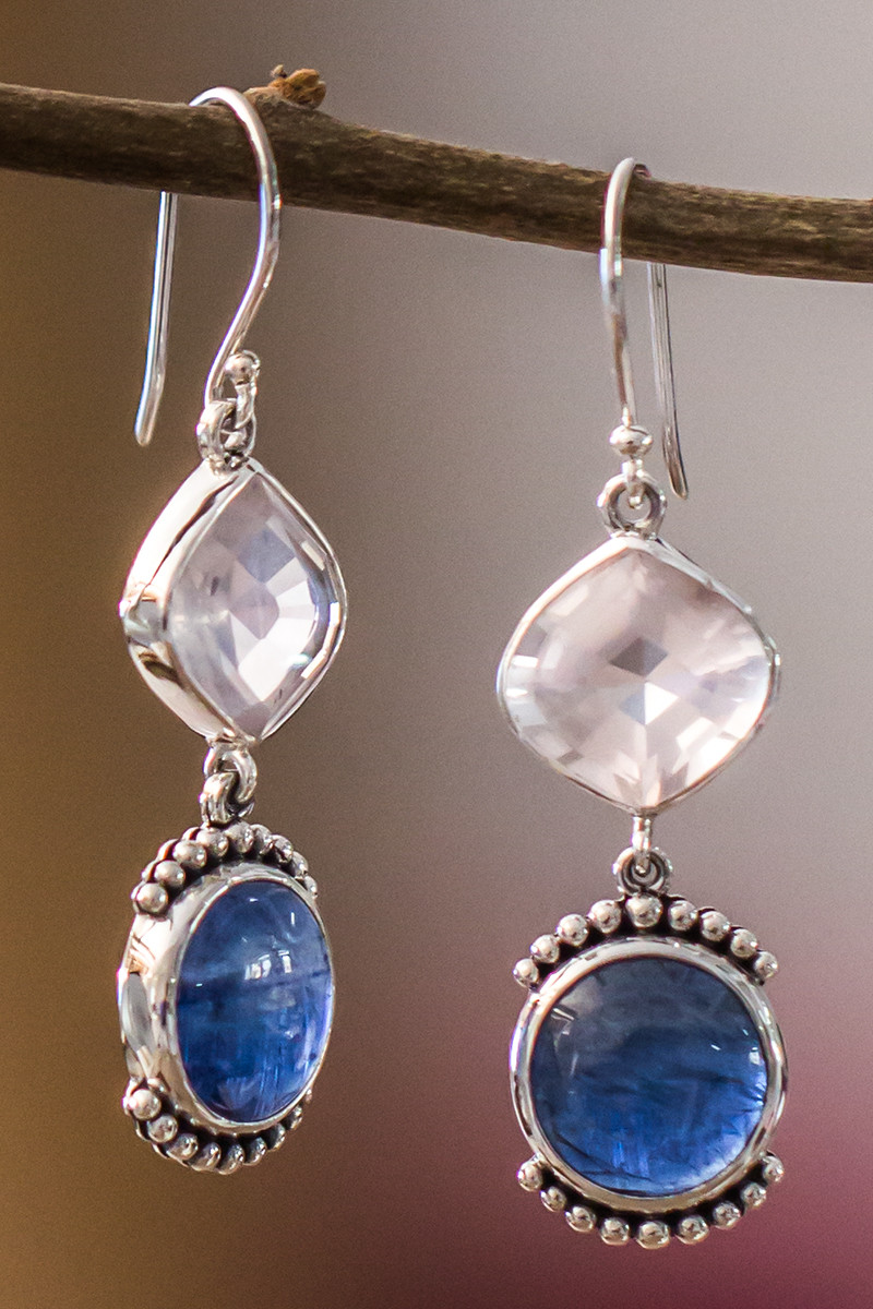 Rose Quartz And Kyanite Earring In Sterling Silver