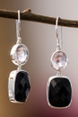 Rose Quartz And Onyx Earrings In Sterling Silver