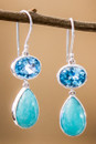 Blue Topaz And Turquoise Sterling Silver Earrings