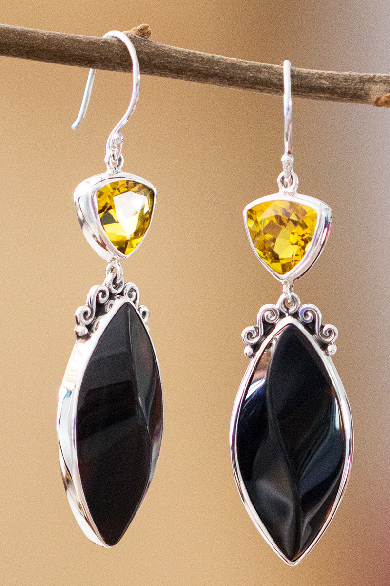 Citrine And Onyx Earrings In Sterling Silver