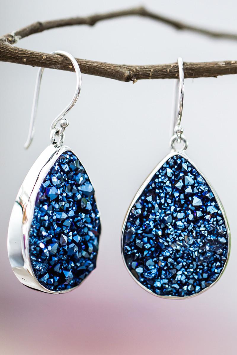 Pear Blue Druzy Earrings In Sterling Silver