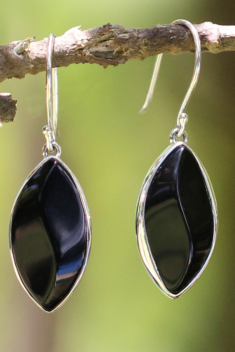 Sterling silver earrings hook with Onyx Cab Marquis