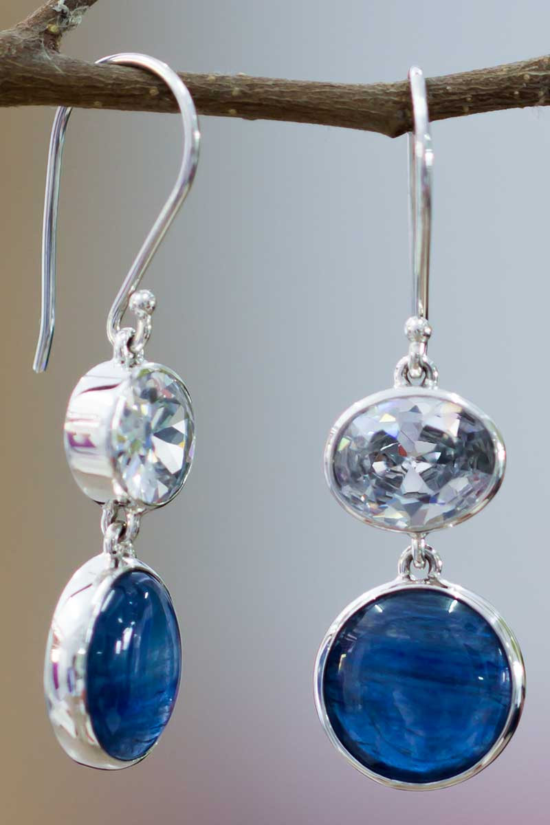 WHITE TOPAZ AND KYANITE EARRINGS STERLING SILVER