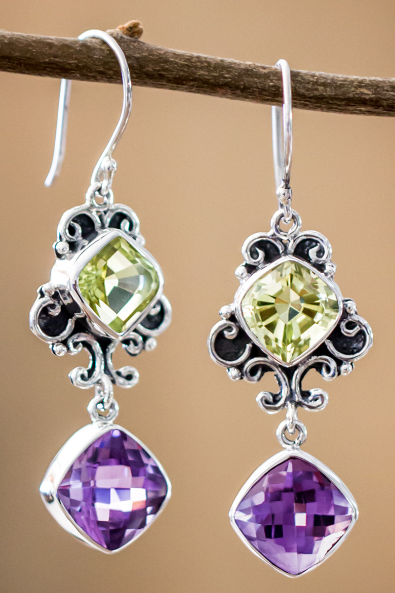 Lemon Quartz And Amethyst Earrings In Sterling Silver