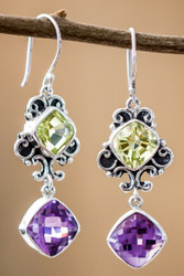 Lemon Quartz And Amethyst Earrings In Sterling Silver