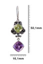 Lemon Quartz And Amethyst Earrings In Sterling Silver-Detail front view