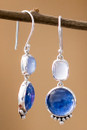 Chalcedony And Kyanite Earrings Sterling Silver