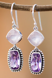 Amethyst With Rose Quartz Dangle Earrings