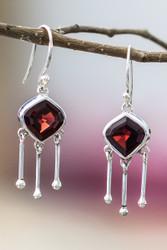 Garnet 3 Dangle Sterling Silver Earrings