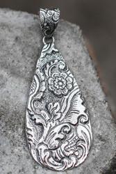 Repousse teardrop sterling silver pendant
