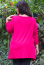 Flowing tunic with ruched sleeves - Back view