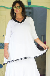 V neck tunic with pom-pom - front view