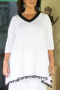 V neck tunic with pom-pom - front  detail view