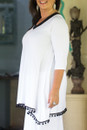 V neck tunic with pom-pom - side view