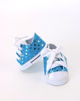 Teal Sequin Sneakers For Your American Girl Doll