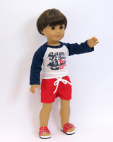 Boy's Swim Trunks and Top Fits 18 Inch Boy Dolls.