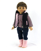 3 PC Pink and Black Heart Outfit For American Girl Dolls